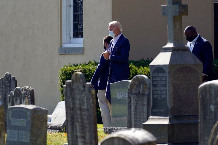 President-elect Joe Biden leaves after Mass at St. Joseph on the Brandywine Catholic Church, Sunday, Nov. 8, 2020, in Wilming