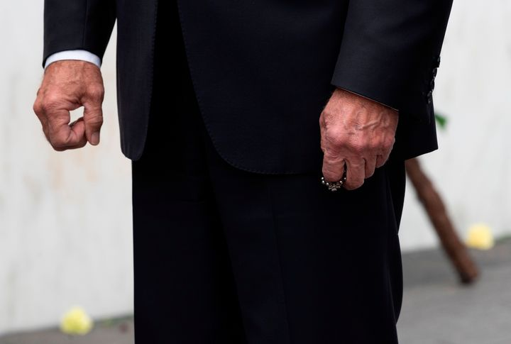Joe Biden holds his rosary after laying a wreath at the Flight 93 Memorial on Sept. 11, 2020, in Shanksville, Pennsylvania.