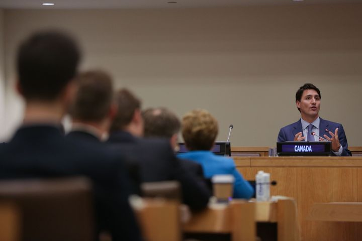 Prime Minister Justin Trudeau speaks at UN headquarters.