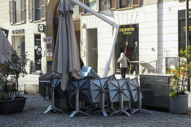 A closed restaurant in Corso Como during the Lockdown in Lombardy red zone on November 09, 2020 in Milan,...