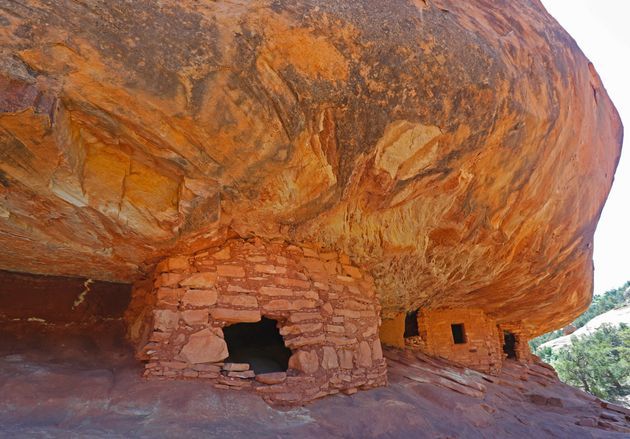 Ancient granaries, part of the House on Fire ruins, are shown here in the South Fork of Mule Canyon in...