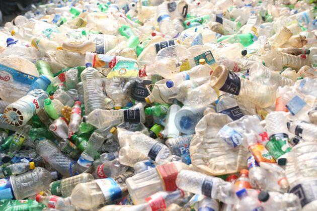Dhaka, Bangladesh- November 24, 2018: Plastic bottles are seen in a recycle factory in Dhaka, Bangladesh...