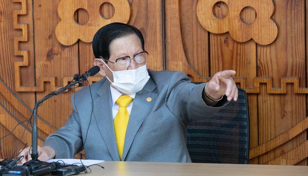 이만희 신천지예수교 증거장막성전 총회장이 2일 오후 경기 가평 신천지 평화의 궁전에서 코로나19 사태 관련 기자회견을 하고 있다.