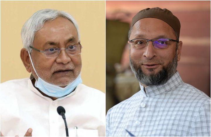 Nitish Kumar(left) and Asaduddin Owaisi.