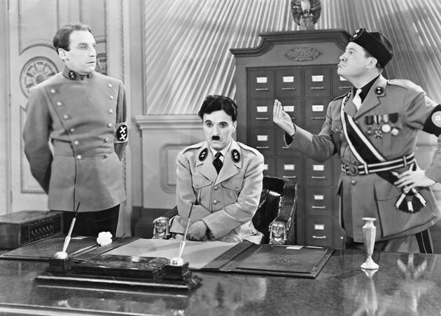 (Original Caption) Charlie Chaplin as Hitler and Jack Oakie as Mussolini in the United Artist picture...