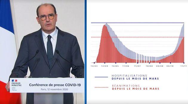 Le Premier ministre, Jean Castex, le jeudi 12 novembre lors d'un point d'étape sur le Covid-19 et le