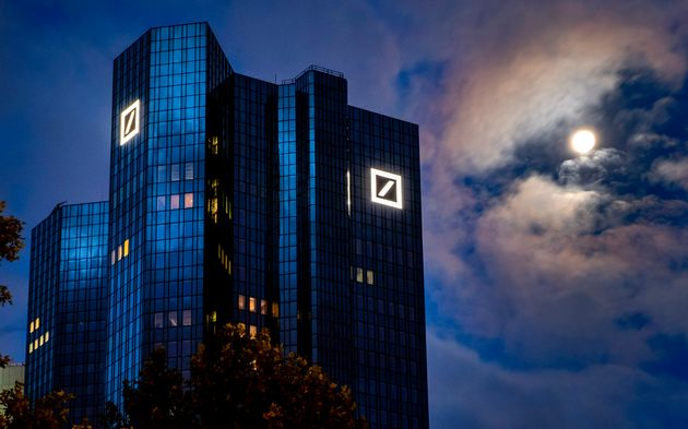 The headquarters of Deutsche Bank in Frankfurt, Germany, early Sunday, Oct. 4, 2020. A new report from...