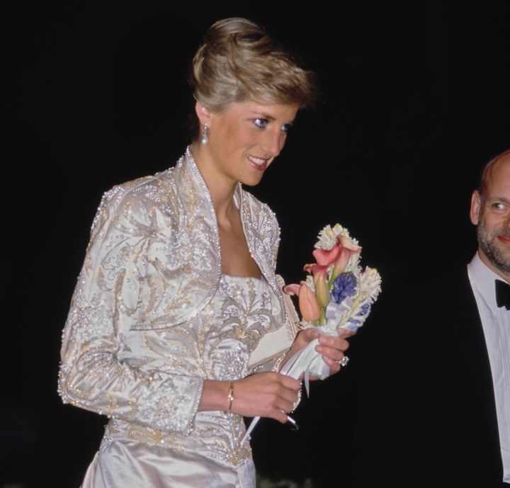 Princess Diana at a gala dinner at the Winter Garden in New York City in February 1989.