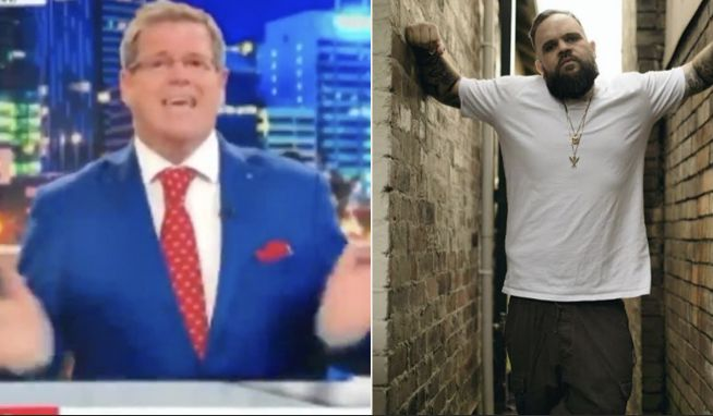Sky News host Peter Gleeson (above left) unleashed a misleading on-air rant at Briggs the rapper (right).