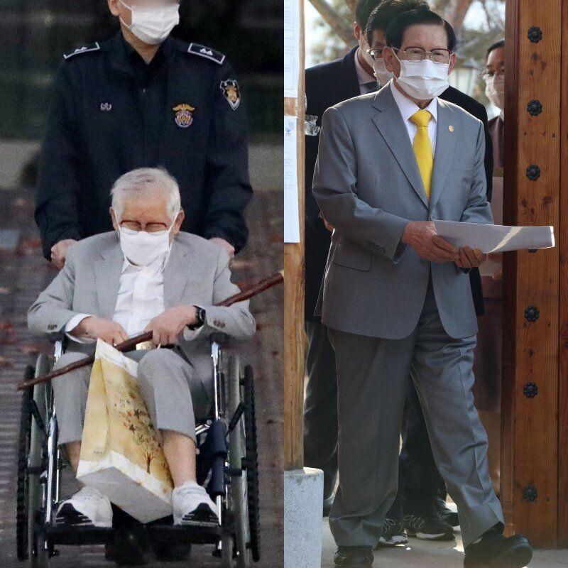 11월12일 수원구치소를 나온 이만희(왼쪽)와 8개월 전 대국민 기자회견 당시