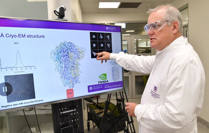 Prime Minister Scott Morrison is seen during a tour of the University of Queensland Vaccine Lab on October 12, 2020 in Brisbane, Australia.