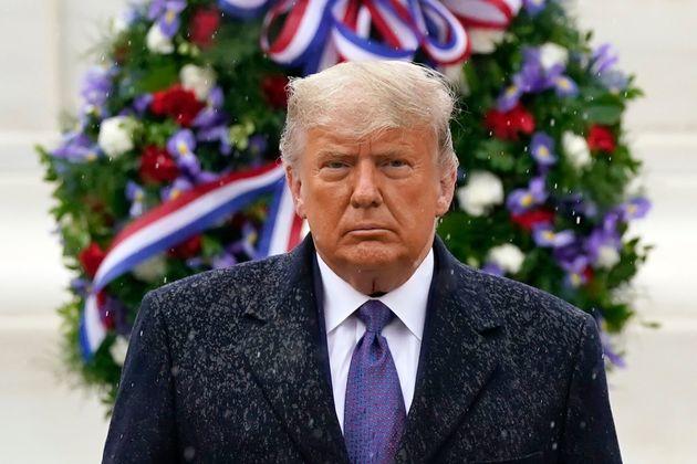 El presidente saliente Donal Trump, en Arlington el 11 de noviembre de 2020 (AP Photo/Patrick