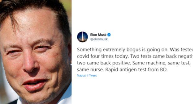 """Elon Musk: """"Oggi ho fatto 4 test Covid: due negativi, due positivi. Se capita a me, può capitare a tutti"""""""