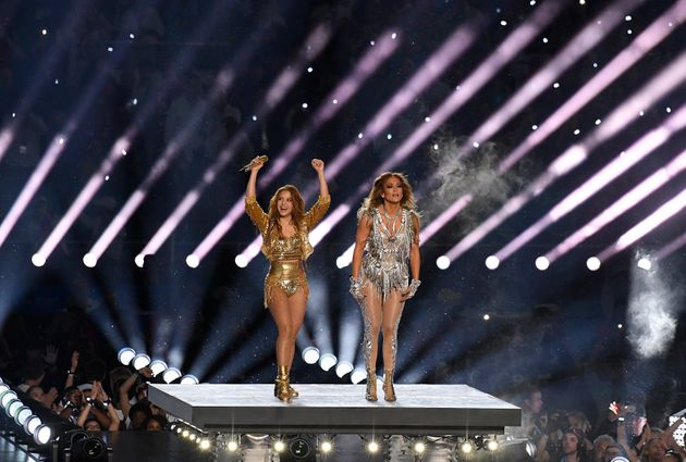 Shakira and Jennifer Lopez on stage at this year's Super