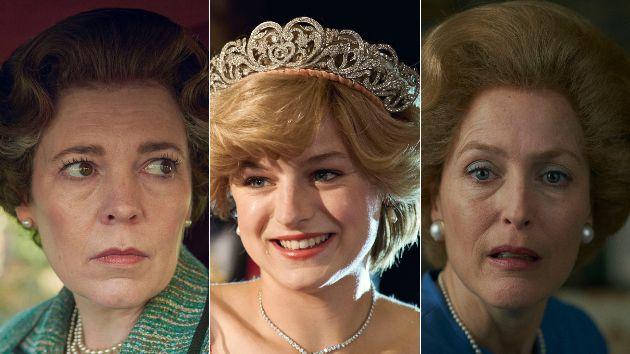 Olivia Colman, Emma Corrin y Gillian Anderson como Isabel II, Diana de Gales y Margaret Thatcher.