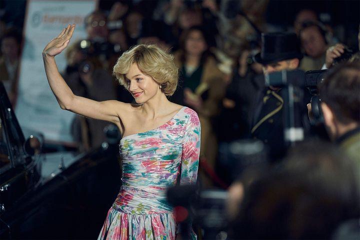 Emma Corrin in character as Princess Diana
