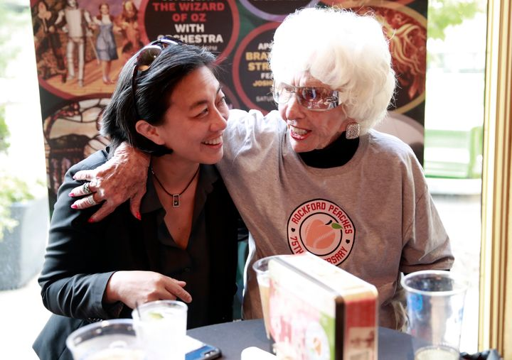 Kim Ng, left, with Maybelle Blair, is now the highest ranking woman in baseball operations in the majors.