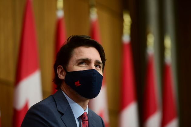 Prime Minister Justin Trudeau provides an update on the COVID pandemic during a press conference in Ottawa...