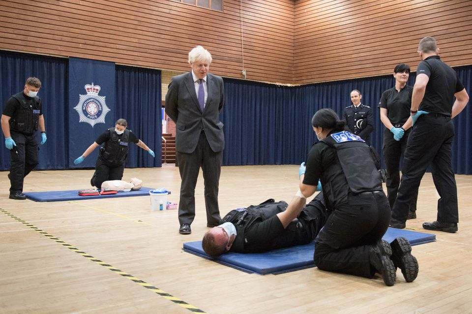 Boris Johnson during a visit to Northamptonshire Police headquarters in