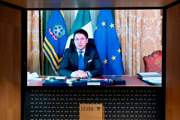 IMAGE DISTRIBUTED FOR LAPRESSE - Italian Prime Minister Giuseppe Conte connected from Palazzo Chigi to...
