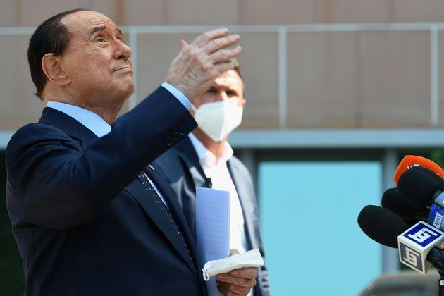 MILAN, ITALY - SEPTEMBER 14: Silvio Berlusconi is discharged from the San Raffaele hospital in Milan...