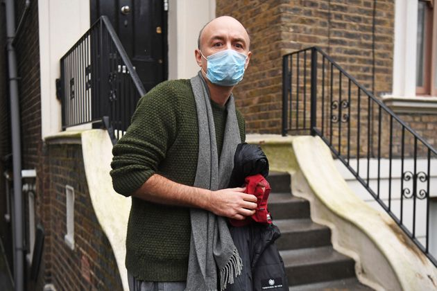 Former parliament advisor Dominic Cummings walks outside his north London home after he resigned from his role on Friday,