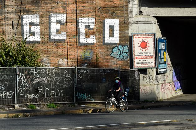 Tags, graffiti and writing in large letters, affixed by the writer Geco on walls, buildings and urban...