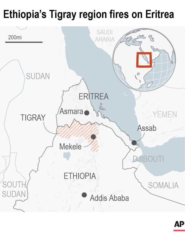 Map locates Eritrea and the Tigray region of