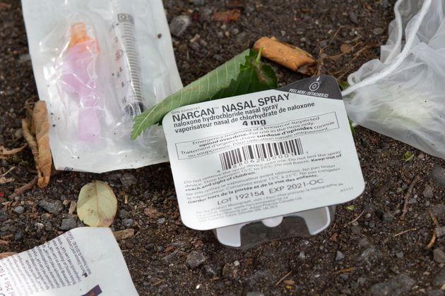 Narcan nasal spray, an overdose prevention spray, can be seen at a popular spot in Ottawa on June 25,