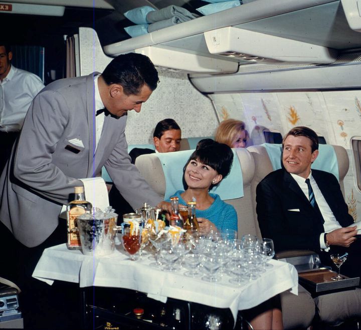 An interior view of a Boeing 707-138, operated by Qantas in 1965.