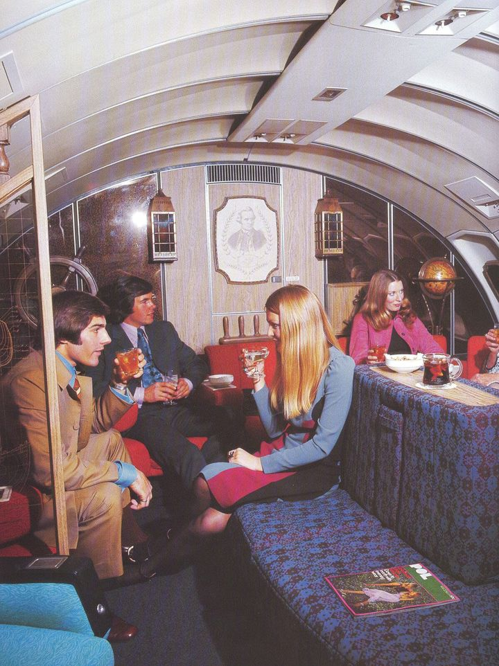 The First Class Lounge of a B747 operated by Qantas in the 1970s.