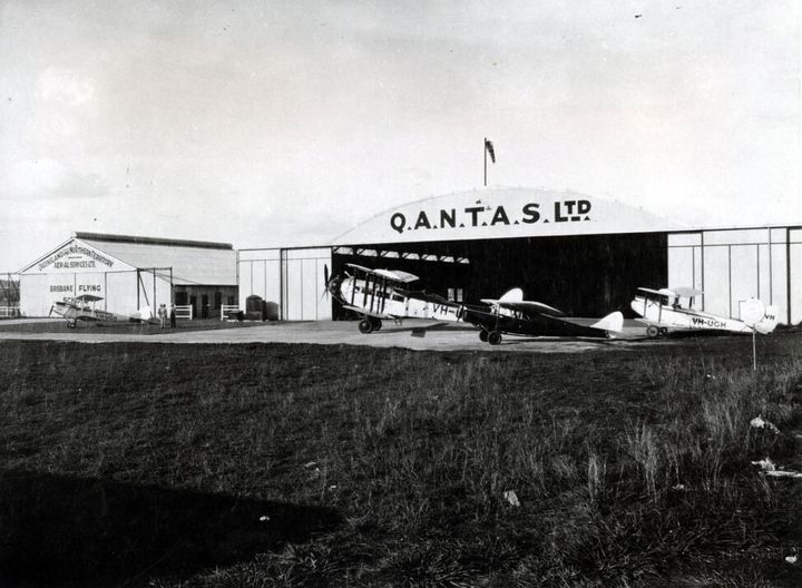 Qantas hangars in Eagle Farm, Brisbane, Australia are seen in the late 1920s.