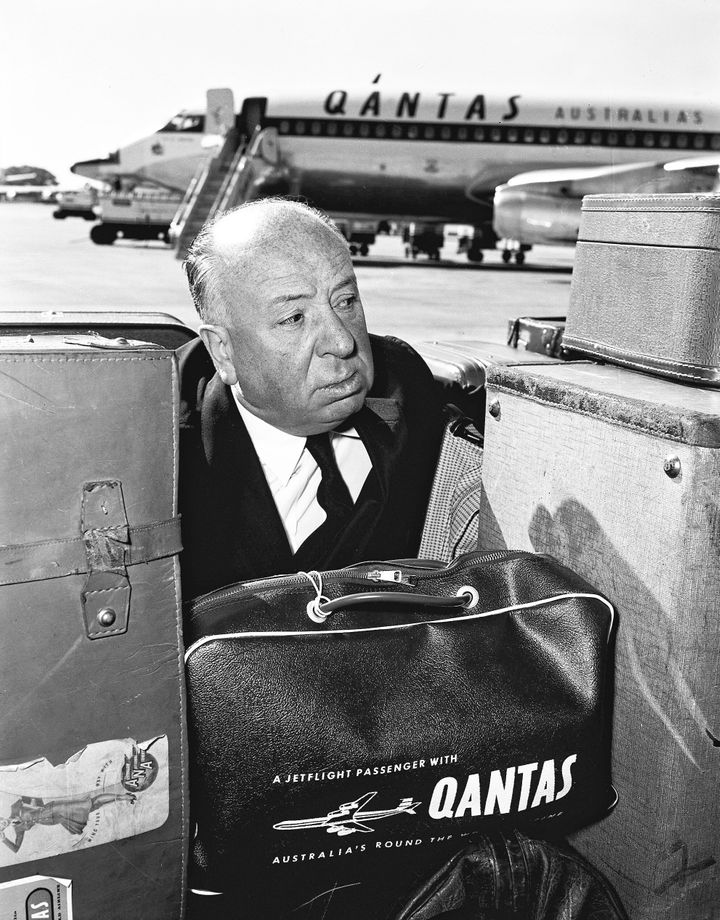 Movie director Alfred Hitchcock departs Australia by Qantas at Sydney Airport at Mascot on 15 May 1960.