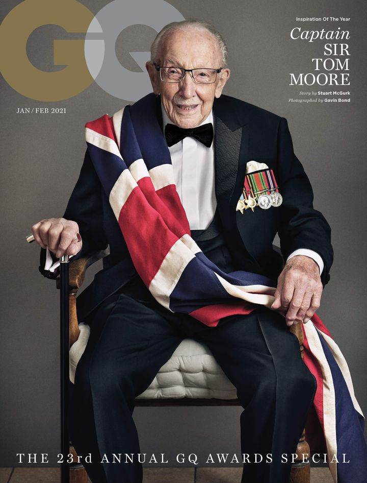 Captain Sir Tom Moore on the cover of GQ.