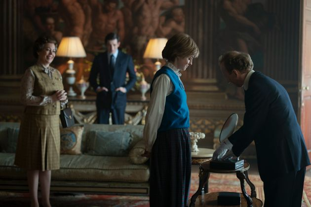 Emma in character as Princess Diana in The Crown