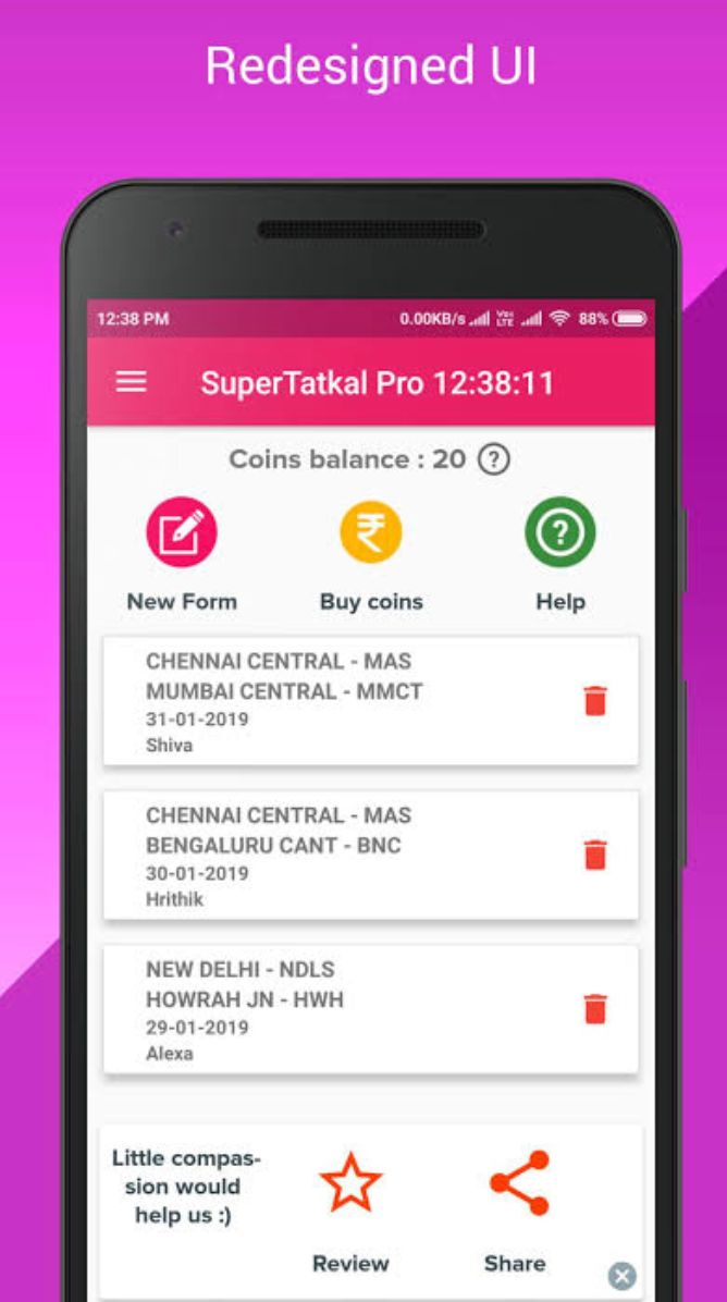 A screengrab of the Super Tatkal Pro app before it was deactivated.