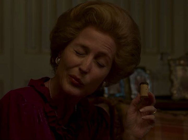 Gillian Anderson as Margaret Thatcher in the Crown.