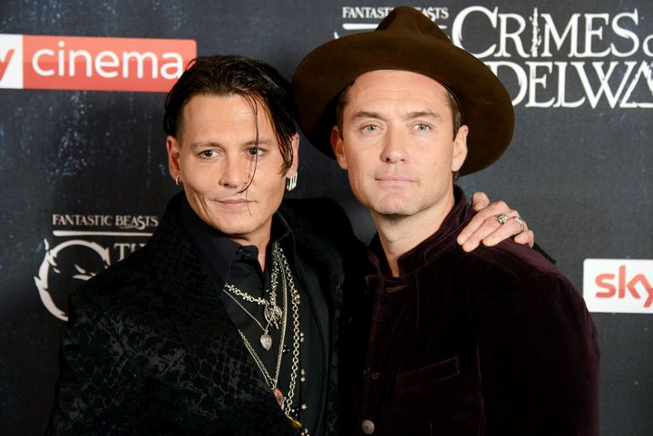 "Johnny Depp and Jude Law attend the U.K. premiere of ""Fantastic Beasts: The Crimes Of Grindelwald."""