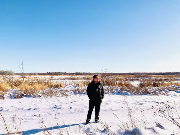 Enoch Cree Nation Chief Billy Morin standing in front of Yekau Lake, the former location of a federal...