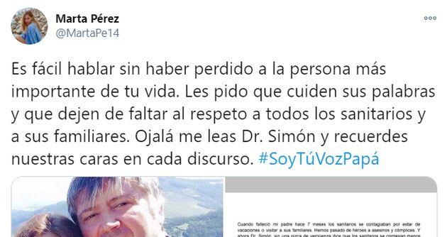 Captura del tuit de Marta Pérez sobre Fernando