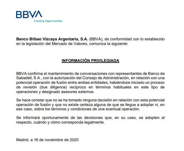 Información privilegiada remitida a la CNMV por