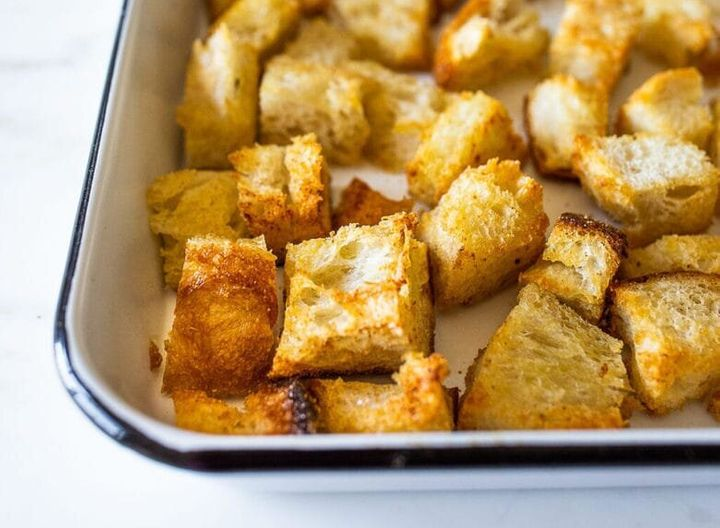 "<a href=""https://www.feastingathome.com/homemade-sourdough-croutons/"" target=""_blank"" rel=""noopener noreferrer""><strong>Sourdough croutons from Feasting At Home</strong></a>"