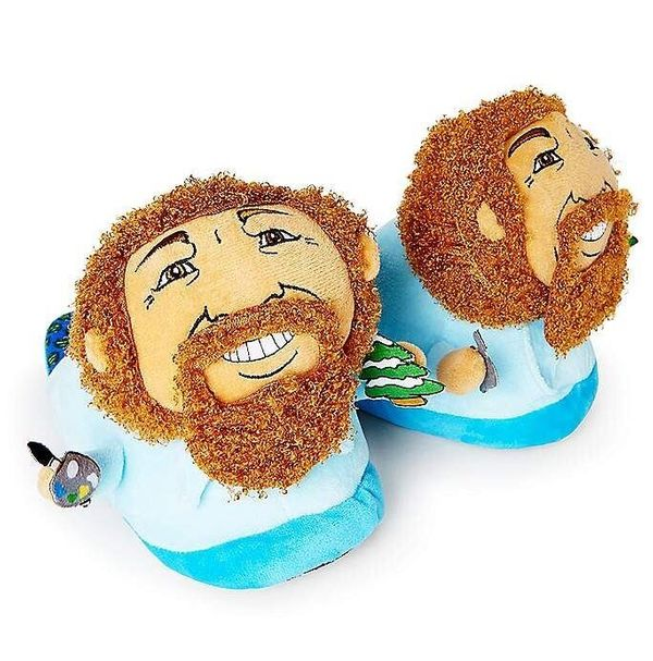 """If you're painting happy little trees, maybe you need some <a href=""""https://www.spencersonline.com/product/bob-ross-slippers/"""