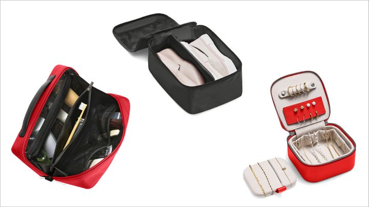"""<a href=""""https://fave.co/2IGd11K"""" target=""""_blank"""" rel=""""noopener noreferrer"""">The Extra Extras Set</a> includes Large Toiletry Bag, Jewelry Box and Small Shoe Cubes for&nbsp;$145 (that&rsquo;s a savings of $40) at Away."""