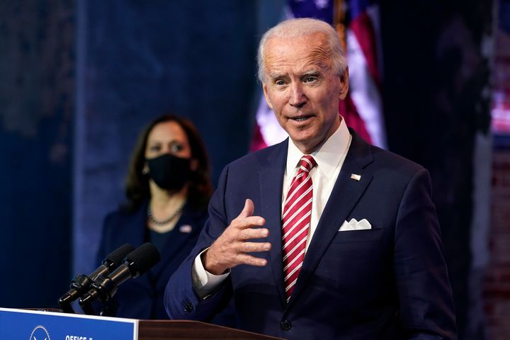 President-elect Joe Biden, accompanied by vice-preesident-elect Kamala Harris speaks about economic recovery at The Queen Theater in Wilmington, Del. on Nov. 16, 2020.