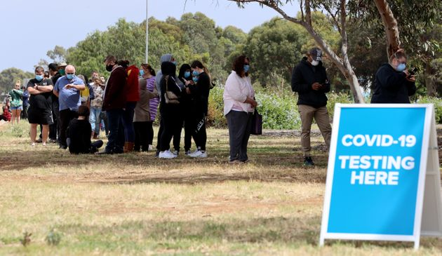 People queuing at the COVID-19 Testing site at Parafield Airport on November 16, 2020 in Adelaide,