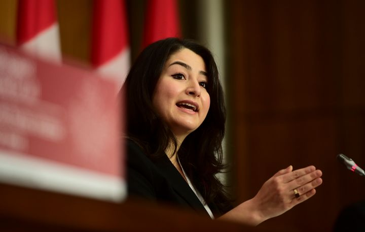 Minister for Women and Gender Equality and Rural Economic Development Maryam Monsef speaks during a press conference on broadband internet in Ottawa on Nov. 9, 2020.