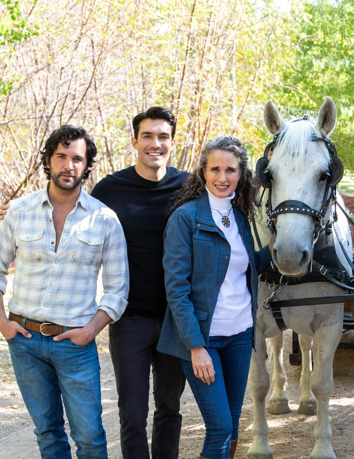 """""""Dashing in December"""" stars (from left) Juan Pablo Di Pace,Peter Porte and Andie MacDowell."""