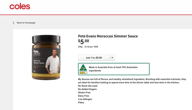 A screenshot Tuesday morning of the Coles website listing a product from Pete Evans's whole foods