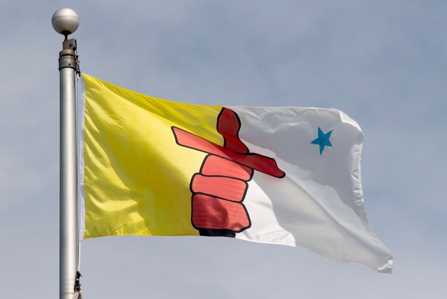 Nunavut's flag flies on a flag pole in Ottawa on June 30,